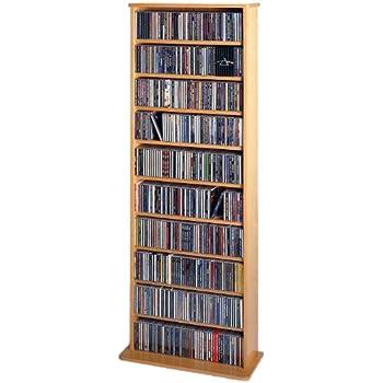 Leslie Dame CDV 500 High Capacity Oak Veneer Multimedia Storage Rack, Oak