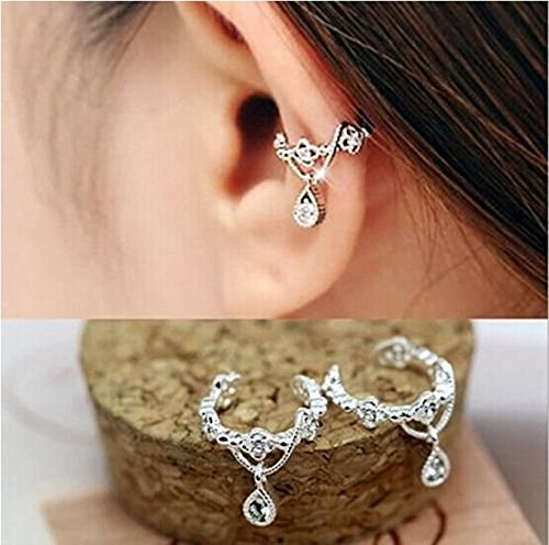 Women ear Cuff Wrap Rhinestone Crystal Clip On Earring Jewelry Silver 1 by JASSINS