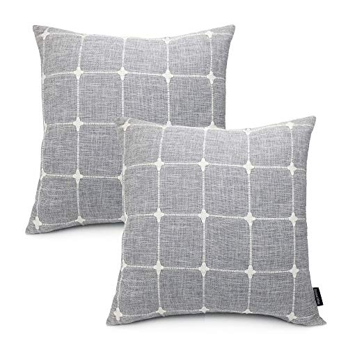 Booque Valley Plaid Pillow Covers 17 x 17 inch, Pack of 2 Soft Poly Linen Woven Texture Cushion Covers, Hand Made Check Pillow Cases for Sofa Bed Car Chair(Grey)