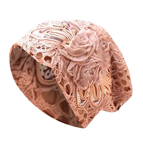 Sunshinehomely Women Elastic Hijab Cancer Hat Chemo Turban Wrap Cap Hair Loss Head Scarf (Crochet Coffee)