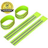 Reflective Ankle Bands (4 Bands/2 Pairs) | High Visibility and Safety for Jogging/Cycling/Walking etc | Works as Wristbands, Armband, Leg Straps | Accessories for Sports/Running Gear