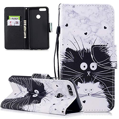 LEECOCO Huawei Honor 7X Case Creative Painted Floral Wallet Case with Card Cash Slots Wrist Strap PU Leather Magnetic Flip Protective Slim Belt Case Cover for Huawei Honor 7X / Mate SE Totoro HX (Totoro Phone Strap)