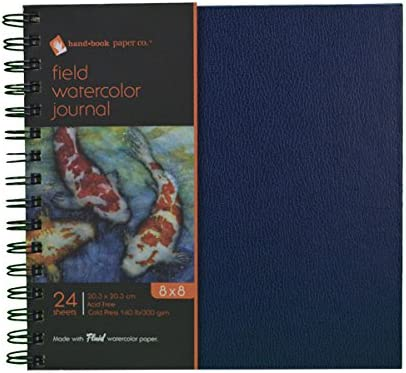 Global Art Materials Field Watercolor Artist Journal Hand Book, 8 by 8-Inch by Global Art Materials
