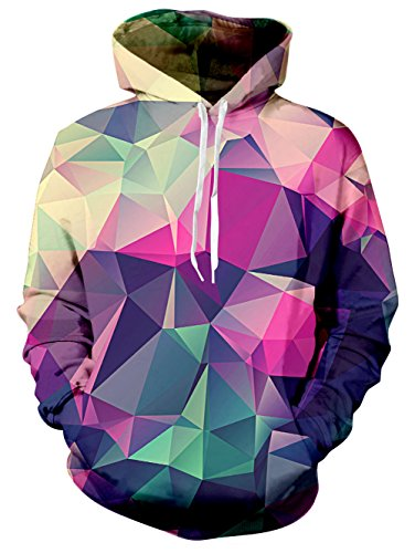 RAISEVERN Unisex Rainbow Horns Print Long Sleeve Pocket Hoodie Sweatshirt Graphic Hoodies Pointedness, XL