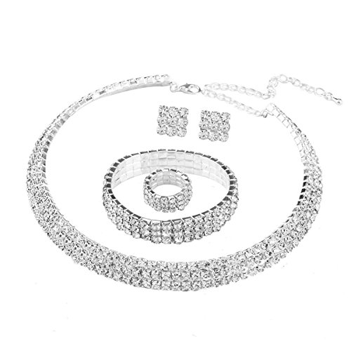 Stuffwholesale Bridal Wedding Prom Necklace 3 Row Stretch Crystal Rhinestone Choker Necklace/Ring/Earring/Bracelet with Elastic Cord (style#17)