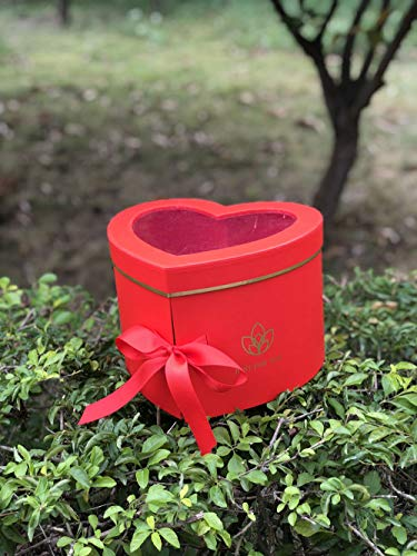 [USA-SALES] Premium Quality Heart Shaped Flower Box, Floral Hat Box, with Lids, Size 9x8x6.5, for Luxury Style Flower Arrangements, Ships from USA (Red)