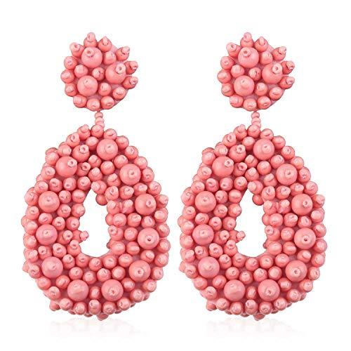 Statement Beaded Hoop Earrings, Drop Dangle Oval Earrings Bohemian for Women Girl Novelty Fashion Summer Accessories - VE127 Pink