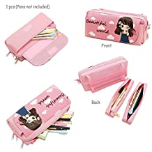 Bautiful Girl Pencil Pouch Organizer, TopRay Multi-layer Cute Cartoon Beautiful Girl Korea Style Pencil Case Pen Bag Pouch Organizer Colored Pencils Stationary Box Makeup Cosmetic Bag with Zipper