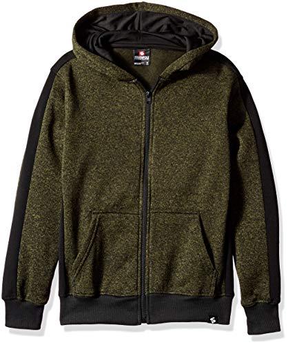 Southpole - Kids Boys Fleece Zip Sweater, Marled Olive Side Panel, Large