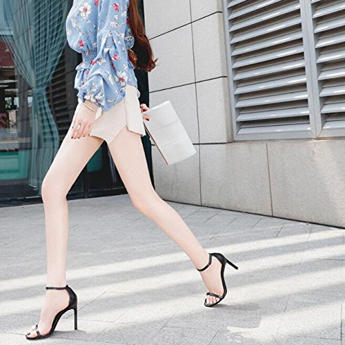 Zapatos High Sandals With Toe Señoras Negro Evening Heel Peep Sexy Strappy Summer qtT5wI