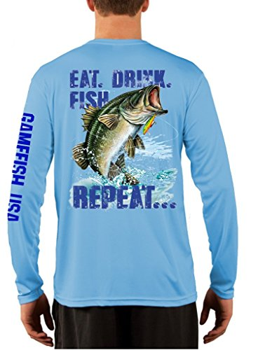 UPF 50 Long Sleeve Performance Fishing Shirt Eat Drink for sale  Delivered anywhere in USA