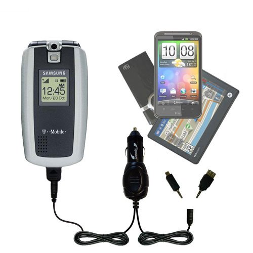 Gomadic Dual DC Vehicle Auto Mini Charger designed for the Samsung SGH-T719 - Uses Gomadic TipExchange to charge multiple devices in your - T719 Sgh Cell