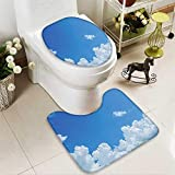 SOCOMIMI Toilet Cushion Suit Collection Cloud Frame Skylight to Clear Sky Sunny Day Decorative Nature Picture Scene in Bathroom Accessories