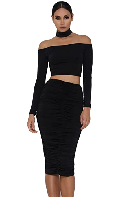 New Ladies Black Choker Off Shoulder Cropped Top Club Wear