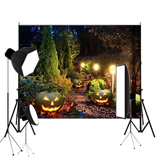 7x5ft Halloween Pumpkin Lamps Photography Backdrop Night Park Scenery Photo Background Vintage Road Lamps Thanksgiving Day Child Baby Kid Portrait Studio Props Wallpaper ()