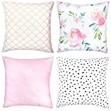 #1: Decorative Throw Pillow Covers For Couch, Sofa, or Bed Set Of 4 18 x 18 inch Modern Quality Design 100% Cotton Floral Polkadot Gold Metallic Pink