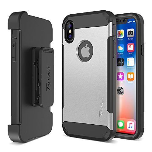 Trianium Duranium Holster Case Compatible with iPhone Xs & iPhone X Case (5.8 Phone ONLY) [Heavy Duty Full-Body Protection] Built-in Screen Protector/Belt Clip Holder with Kickstand - Silver