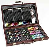 Großes KÜNSTLER-Set /MALSET im Holzkoffer - Farbstifte, Wasserfarben, Ölpastell-Kreiden und viel Zubehör