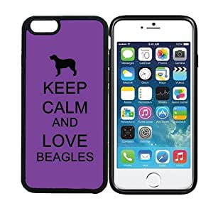 iPhone 6 (4.7 inch display) RCGrafix Keep Calm And Love Beagles Purple - Designer BLACK Case - Fits Apple iPhone 6- Protected Cell Phone Cover PLUS Bonus Iphone Apps Business Productivity Review Guide