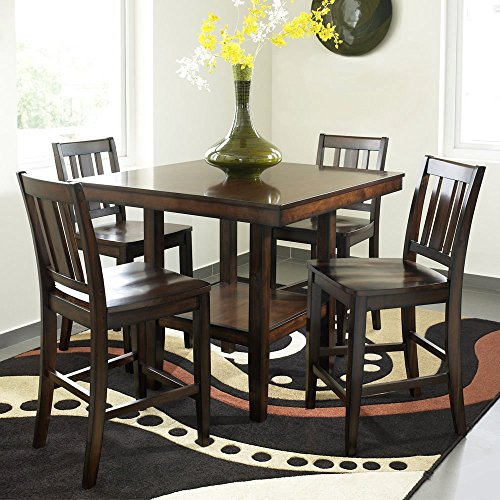 1PerfectChoice Crescent City 5 pcs Square Counter Height Dining Table Shelf Wooden Side Chairs