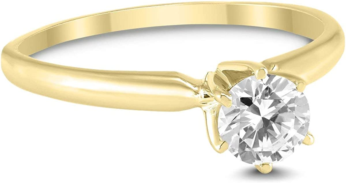 3//8 Carat Round Diamond Solitaire Ring in 14K Yellow Gold