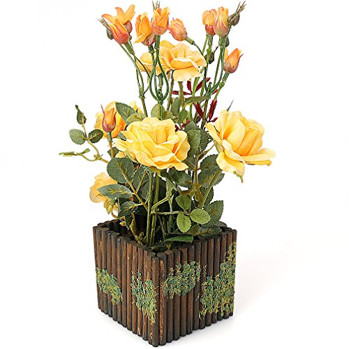 Yellow Artificial Pot (RERXN Artificial Flower with Wooden Fence Pot Silk Potted Rose Arrangement for Home and Wedding Decor (Yellow))