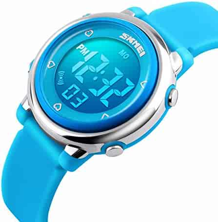 Kids Digital Sport Watch for Boys Girls, Outdoor LED Electrical Luminescent Waterproof Wristwatch with Alarm Children Stopwatch Silicone Band Watches - Blue