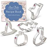 Halloween Trick or Treat Cookie Cutter Set with Recipe Book - 5 Piece - Pumpkin, Bat, Ghost, Witch Hat and Cat - Ann Clark - USA Made Steel
