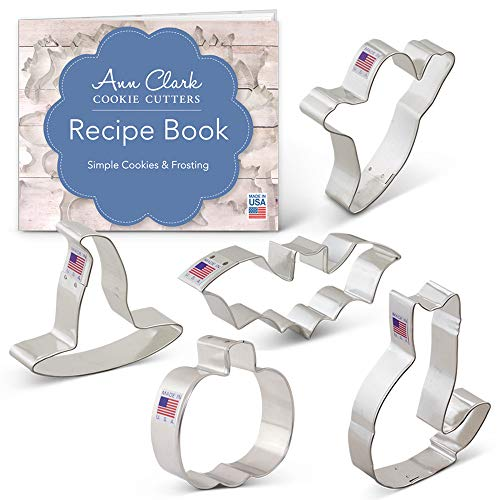 Halloween Trick or Treat Cookie Cutter Set with Recipe Book - 5 Piece - Pumpkin, Bat, Ghost, Witch Hat and Cat - Ann Clark - USA Made Steel -
