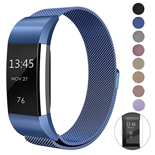 "Super Vaule Metal Bands Compatible Fitbit Charge 2 Bands, Milanese Stainless Steel Mesh Magnetic Replacement Strap Small & Large w/Screen Protector for Women Men (Blue, Small: 5.5"" - 6.7"")"