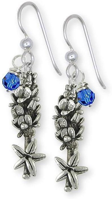 Blue Bonnets Bridal Jewelry Something Blue Silver Drops Bluebonnet Earrings Flower Earrings Bluebonnet Flowers