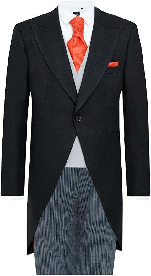 Men's Vintage Style Suits, Classic Suits Dobell Mens Black Herringbone 2 Piece Morning Suit Regular Fit Striped Trousers £179.99 AT vintagedancer.com