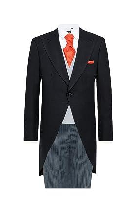 af89e799274f Dobell Mens Black Herringbone 2 Piece Morning Suit Regular Fit Striped Pants  (34L Jacket with