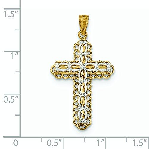 Or 14ct Y W 2Niveau poli Pendentif Croix