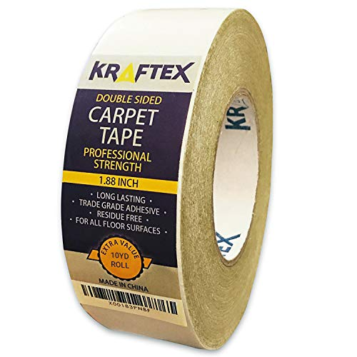 Carpet Tape 10yd/30ft Roll, for Rugs, Mats, Pads, Runners [Anti Slip Non Skid Technology] Indoor Gripper Tape Double Sided Adhesive [Works on Any Floor] Grips Hardwood, Tile, Laminate Floor (30ft)
