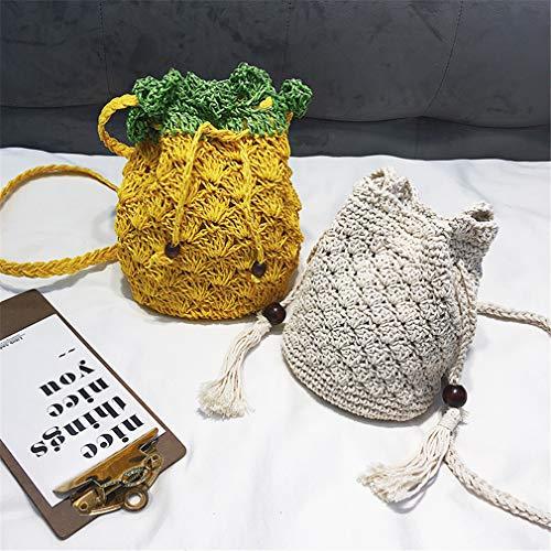 Yellow Tessuto Tracolla Borsa Cm W16h19d4 A Con Frange Beige In wztp5t