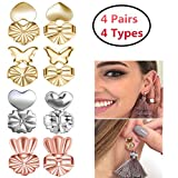 Earring Backs Lifters 4 Pairs Magic Earring Lifts Support Adjustable Hypoallergenic Securely Raise Stretched Ear Lobes Locking Earrings Jewelry Findings for Women(2 Gold+1 Silver +1 Rose Golden)