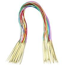 "Dealglad® 18pcs/set 32"" 80cm Colorful Plastic Tube Circular Bamboo Carbonized Knitting Needles Weave Pins (2mm-10mm)"