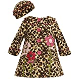 Bonnie Baby-girls Infant Leopard Fleece Coat and Hat BR0SA, Brown