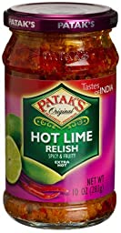 Patak\'s Hot Lime Relish, Extra Hot, 10-Ounce Glass Jars (Pack of 6)