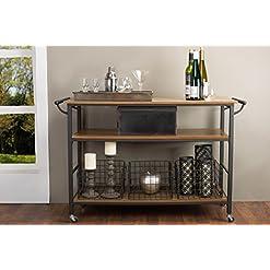 Farmhouse Kitchen Baxton Studio Lancashire Wood and Metal Kitchen Cart, Brown farmhouse kitchen islands and carts