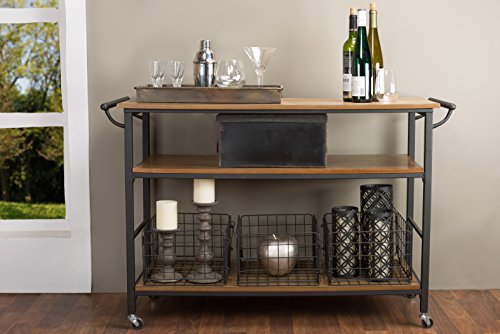 (Baxton Studio Lancashire Wood and Metal Kitchen Cart, Brown)