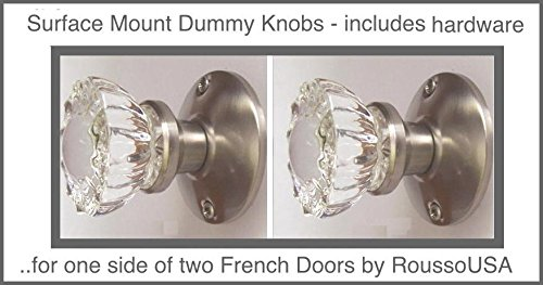 Two Crystal Antique Replica Surface Mount Single Dummy/French Door Knob Sets for one side of two doors or Both Sides of one door. Also for decor projects (Brushed Nickel) (Ver 1.BN9: Surface Mount) (French Door Sets)