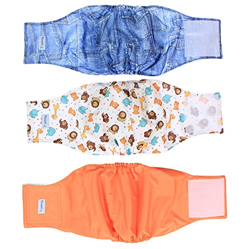 Teamoy Reusable Wrap Diapers for Male Dogs, Washable Puppy Belly Band Pack of 3 (L1, 16''-20''Waist, Orange+ Denim+ Fat Smile)