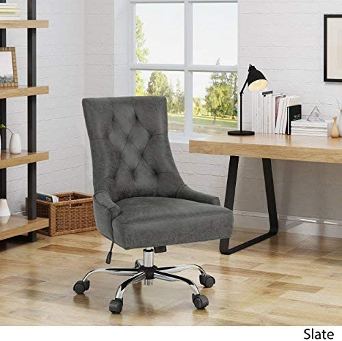 Christopher Knight Home Bagnold Desk Chair, Slate Chrome