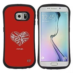 """Hypernova Slim Fit Dual Barniz Protector Caso Case Funda Para Samsung Galaxy S6 EDGE [Rojo Blanco Minimalista cita del amor de San Valentín""""]"""