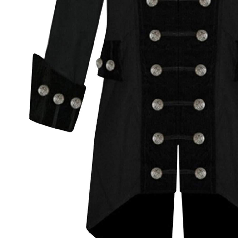 Giacca da Uomo Vintage Steampunk Giacca Invernale da Uomo Vintage Warm Warm Costume da palcoscenico a Maniche Lunghe Cappotto dei Bottoni di Outwear