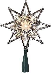 """Kurt S. Adler 46537-10 Light 8"""" Silver Star Christmas Tree Topper"""