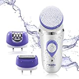 Cheap Flend Facial Cleansing Brush, 3-in-1 Waterproof Women Epilator and Hair Shaver, Rechargeable Facial Brush Set for Gentle Exfoliating, Massaging and Removing