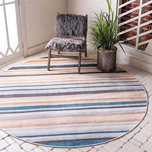 Unique Loom Outdoor Oasis Collection Casual Striped Transitional Indoor and Outdoor Flatweave Multi Round Rug (8' 0 x 8' 0) (Striped Outdoor Rugs Indoor)